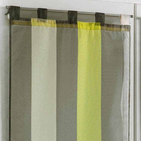 paire de voilages 60 x h120 cm riviera anis voilage. Black Bedroom Furniture Sets. Home Design Ideas