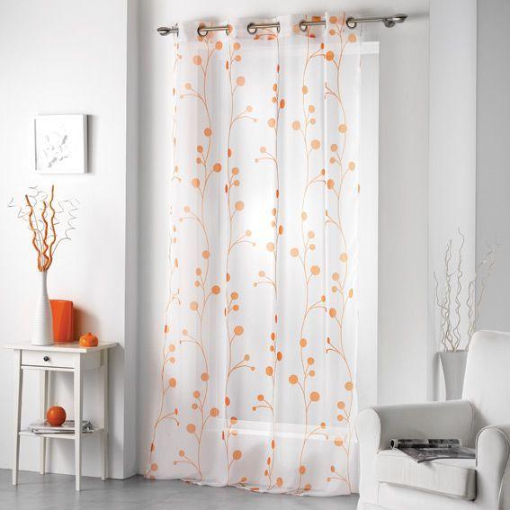 voilage 140 x h240 cm clochettes orange voilage eminza. Black Bedroom Furniture Sets. Home Design Ideas