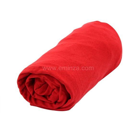 drap housse 90 cm jersey uni rouge drap housse eminza. Black Bedroom Furniture Sets. Home Design Ideas