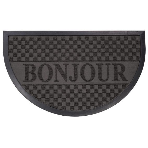 tapis d 39 entr e demi lune bonjour noir tapis pour la maison eminza. Black Bedroom Furniture Sets. Home Design Ideas