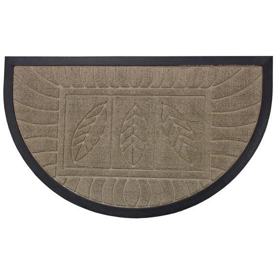 Tapis d 39 entr e demi lune feuilles beige tapis pour la for Tapis de cuisine demi lune