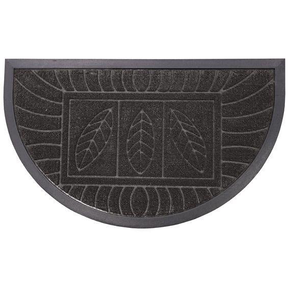 Tapis d 39 entr e demi lune feuilles noir tapis pour la for Tapis demi lune interieur