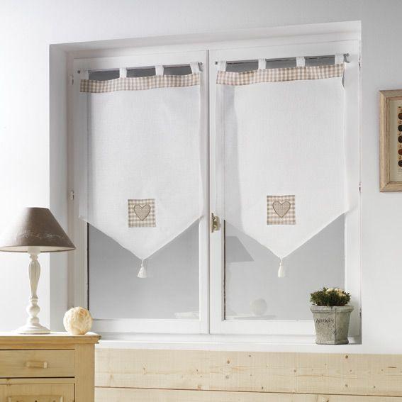 Paire de voilage 60 x h90 cm mont blanc taupe rideau for Voilage cuisine 60 x 90