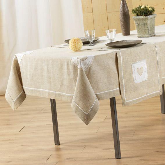 Nappe rectangulaire l240 cm mont blanc brod lin nappe de table eminza - Nappe de table rectangulaire ...