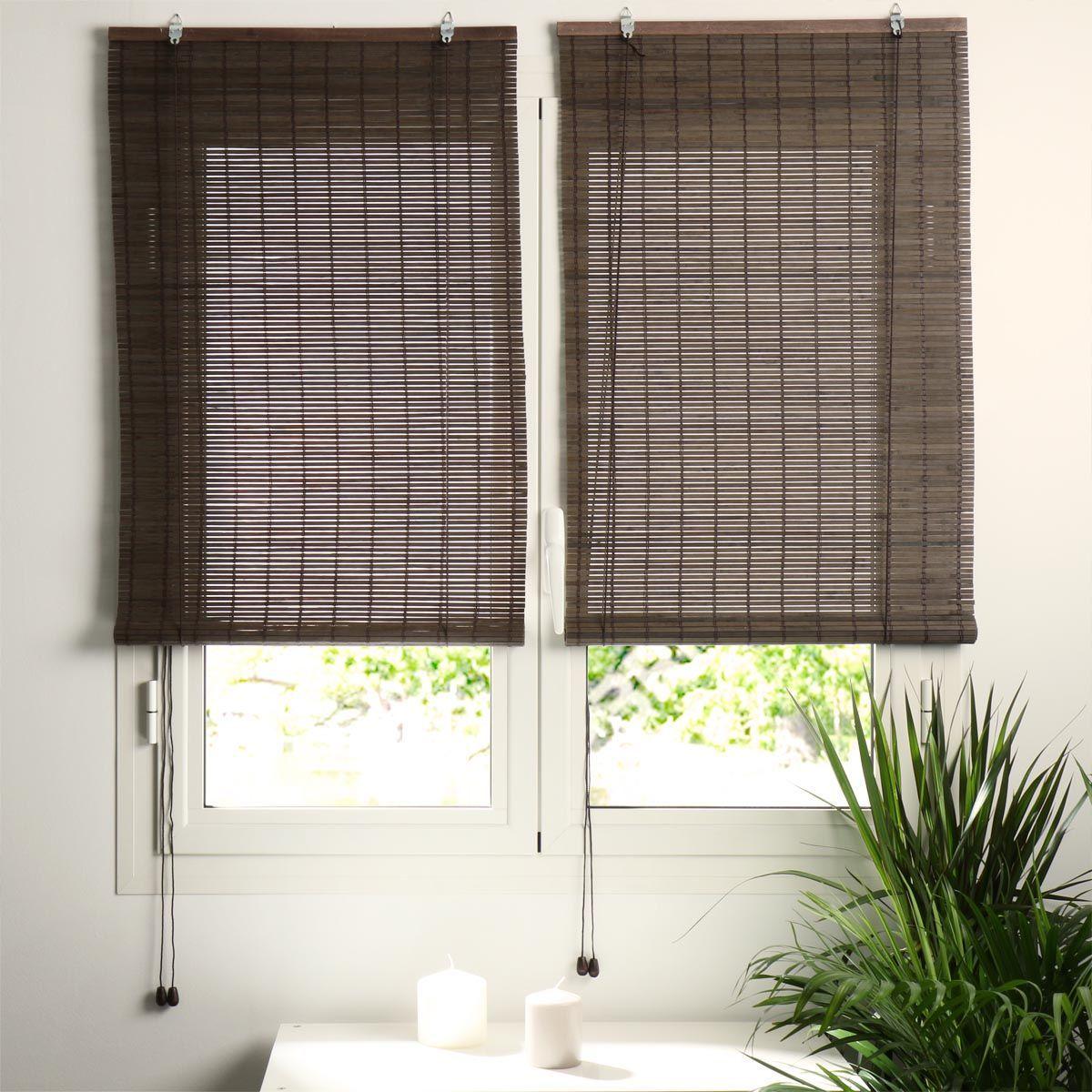 store enrouleur lattes 40 x h180 cm bambou chocolat store enrouleur bambou eminza. Black Bedroom Furniture Sets. Home Design Ideas