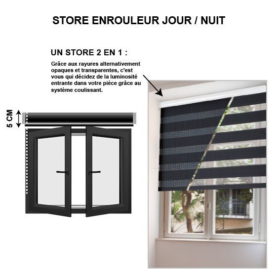 store enrouleur 45 x h180 cm jour nuit gris store jour nuit eminza. Black Bedroom Furniture Sets. Home Design Ideas