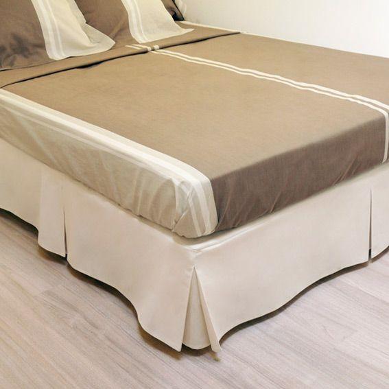 Cache sommier 140 cm beige linge de lit eminza for Cache sommier blanc 140 x 190
