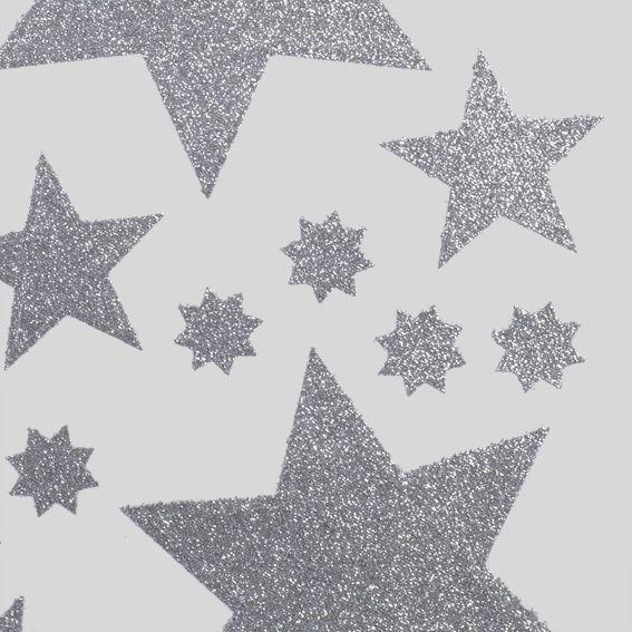 Assortiment de stickers etoile argent vitrostatique et for Decoration fenetre de l avent
