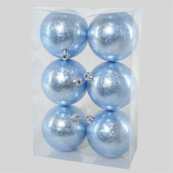 lot de 6 boules de no l alara bleu boule de no l eminza. Black Bedroom Furniture Sets. Home Design Ideas