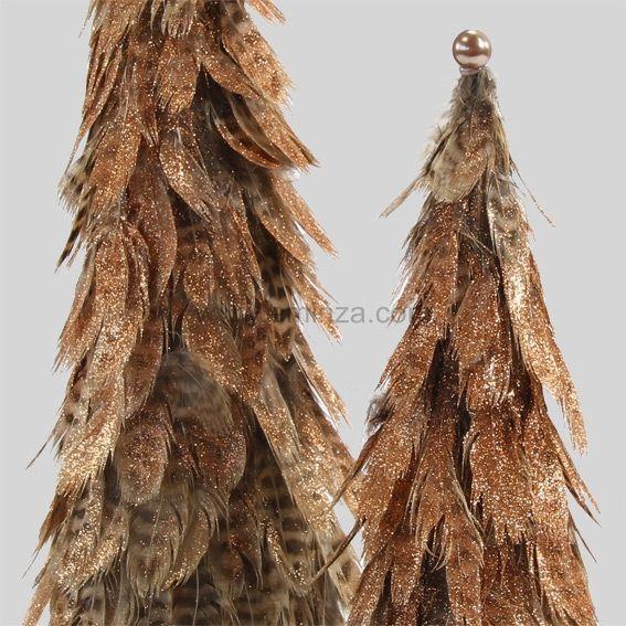 Sapin de Noël en plume Taupe - Elément de déco - Eminza