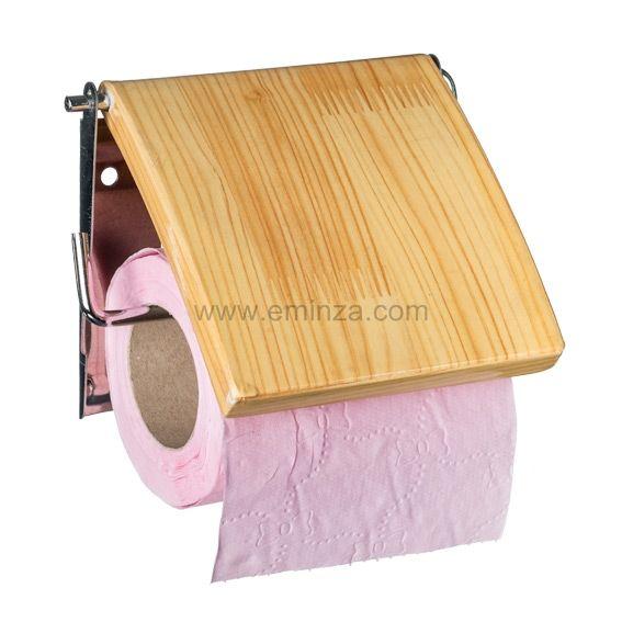 Porte papier toilettes style pin bois bambou porte - Porte papier toilette bois ...