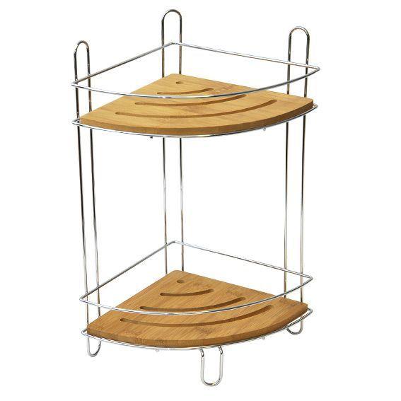 Etag re d 39 angle 2 niveaux m tal chrom et bambou etag re - Etagere d angle salle de bain ...