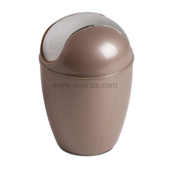 Mini poubelle happy taupe poubelle eminza - Mini poubelle salle de bain ...
