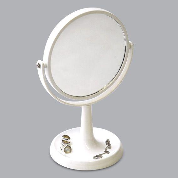 Miroir double face grossissant sur pied blanc miroir - Miroir trois faces salle de bain ...