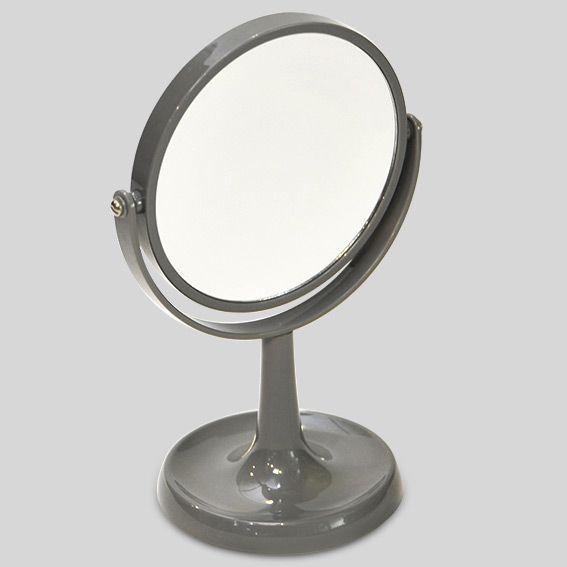 Miroir double face grossissant sur pied gris miroir eminza for Miroir double face