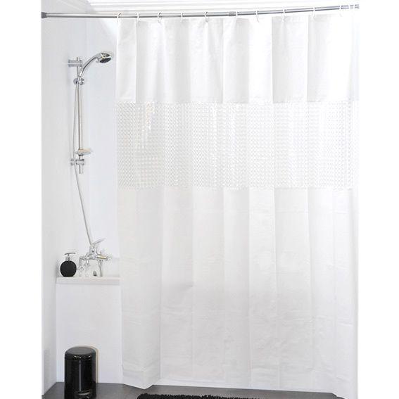 Rideau de douche laser blanc rideau de douche eminza for Rideau de douche rond