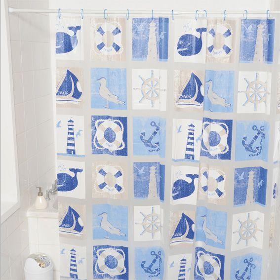 Rideau de douche plastique marin bleu rideau de douche - Longueur rideau de douche ...