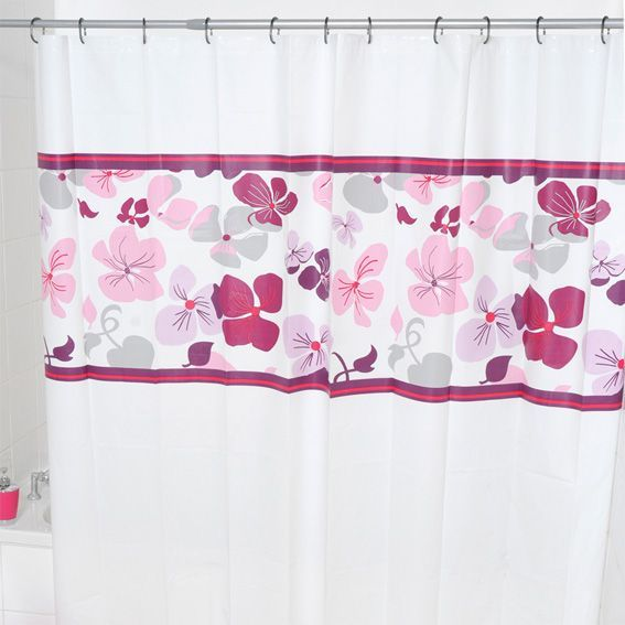 Rideau de douche fleuri prune rideau de douche eminza - Rideau de douche minnie ...