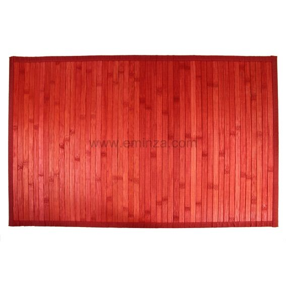 Tapis de bain lattes Bambou Rouge - Tapis salle de bain - Eminza