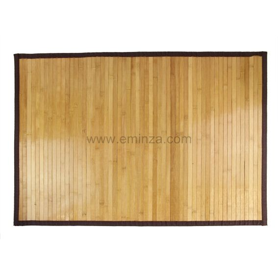 tapis de bain lattes naturelles fonc es bois bambou tapis salle de bain eminza. Black Bedroom Furniture Sets. Home Design Ideas