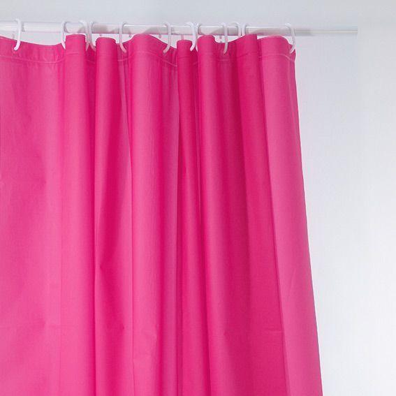 Rideau de douche uni rose premium rideau de douche eminza - Rideau de douche chic ...