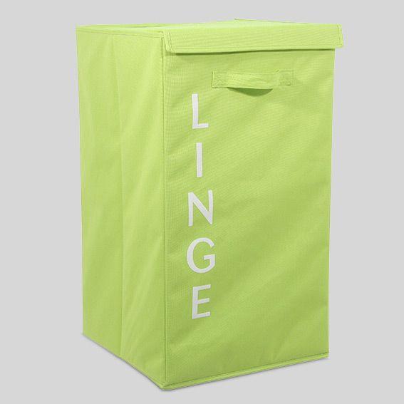 panier linge en tissu lettres vert panier linge eminza. Black Bedroom Furniture Sets. Home Design Ideas