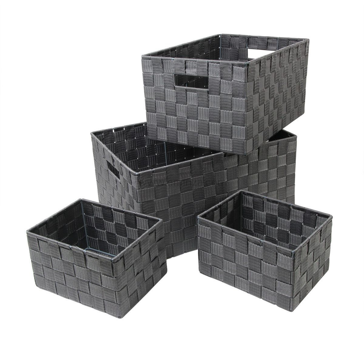 set de panier de rangement quatro gris panier d co eminza. Black Bedroom Furniture Sets. Home Design Ideas