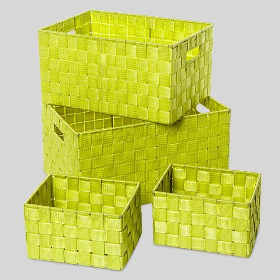 Set de panier de rangement quatro vert panier d co eminza for Panier rangement salle de bain