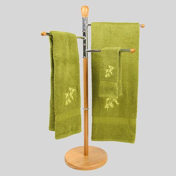 porte serviette sur pied 3 bras bois porte serviette eminza. Black Bedroom Furniture Sets. Home Design Ideas