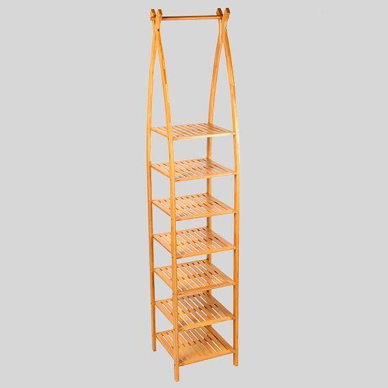 Etag re arqu e 7 niveaux bambou meuble eminza for Etagere salle de bain bambou