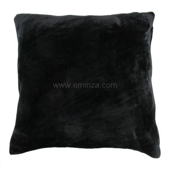 Housse de coussin 60 cm doudou noir housse de coussin for Housse de coussin noir
