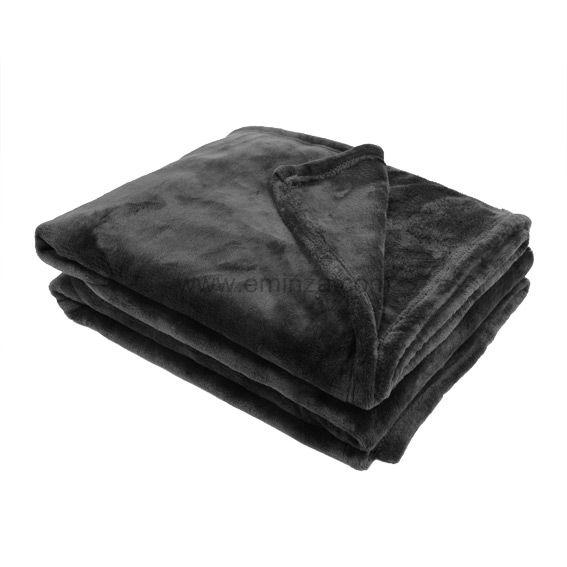 plaid polaire 220 cm doudou noir plaid cocooning eminza. Black Bedroom Furniture Sets. Home Design Ideas