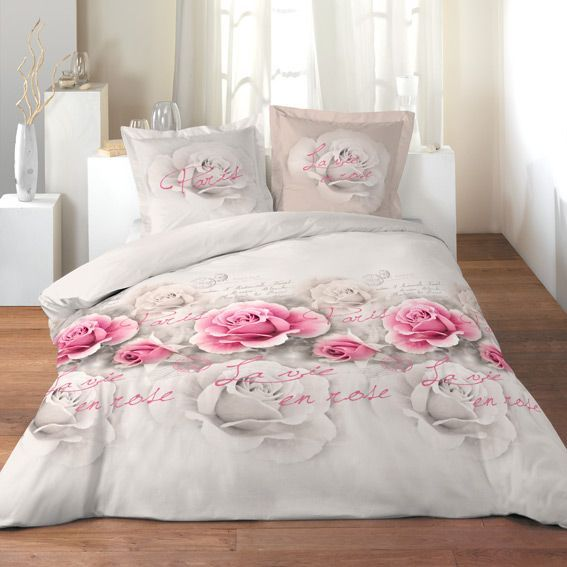 housse de couette et deux taies 260 cm la vie en rose housse de couette eminza. Black Bedroom Furniture Sets. Home Design Ideas