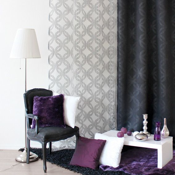 voilage 140 x h240 cm jacquard noir voilage eminza. Black Bedroom Furniture Sets. Home Design Ideas