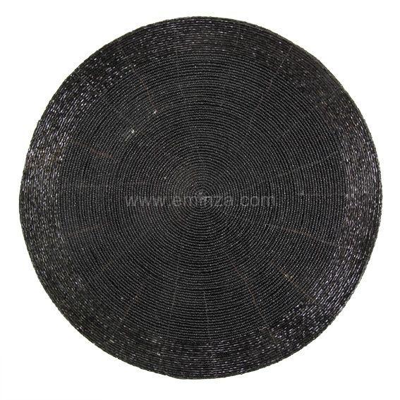 dessous d 39 assiette noir linge de table eminza. Black Bedroom Furniture Sets. Home Design Ideas