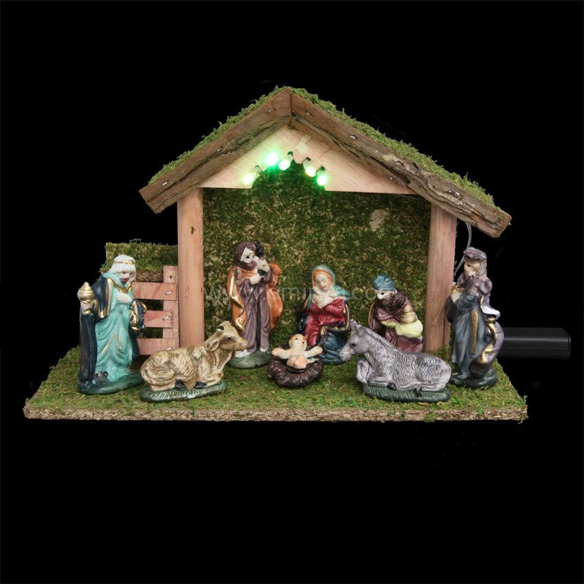 Cr che de no l lumineuse compl te sainte lucie cr che - Idee decoration creche noel ...