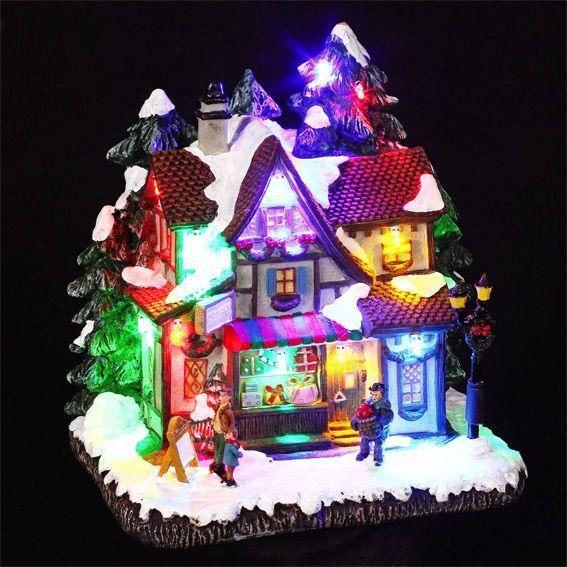 Idee Deco noel lumineux : Village de Noël lumineux Vitrine de Noël - Village de Noël ...