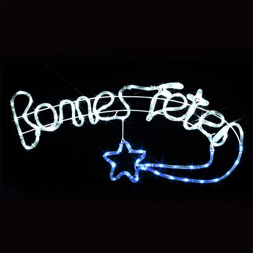 """Top Enseigne lumineuse """"Bonnes fêtes"""" Bleu 90 LED - Silhouette  QT06"""
