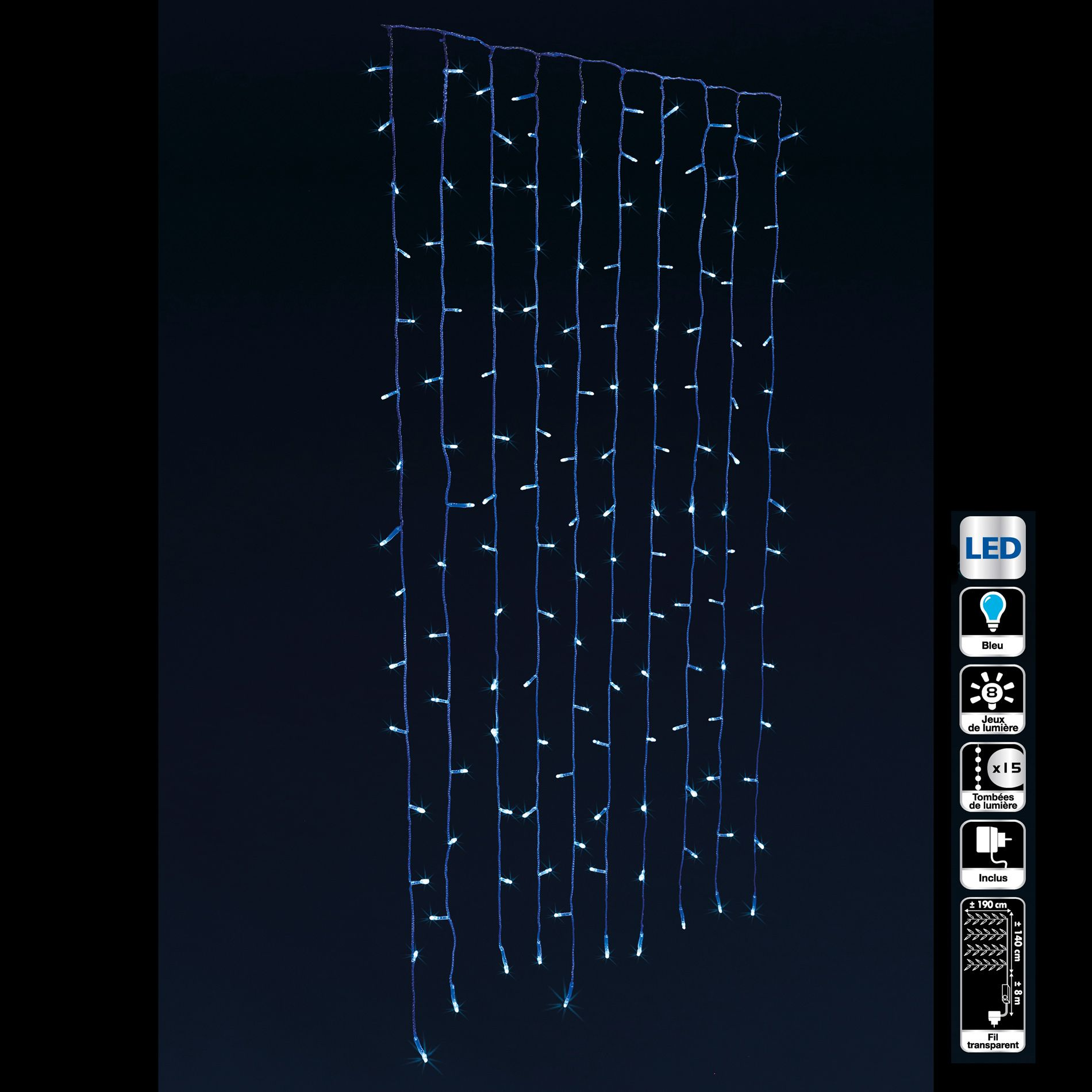 rideau lumineux h1 90 m bleu 300 led guirlande lumineuse eminza. Black Bedroom Furniture Sets. Home Design Ideas