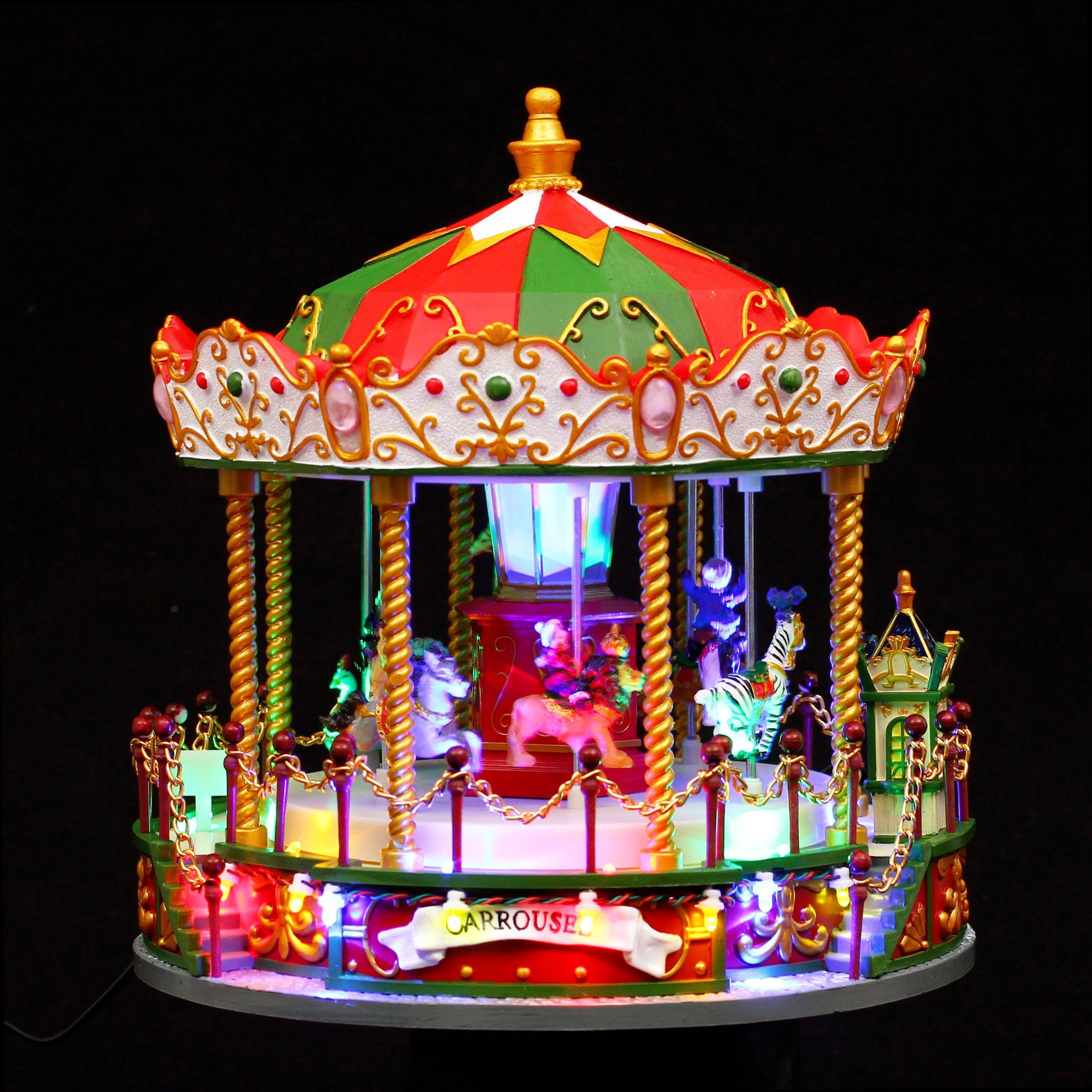 Carrousel lumineux et musical nicolas village de no l for Articles maison decoration