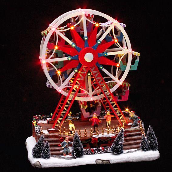 Idee Deco noel lumineux : Grande roue de Noël illuminée d'Hiver - Village de Noël lumineux ...