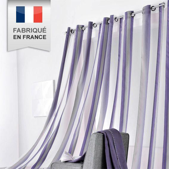 voilage 140 x h280 cm beverly violet voilage eminza. Black Bedroom Furniture Sets. Home Design Ideas