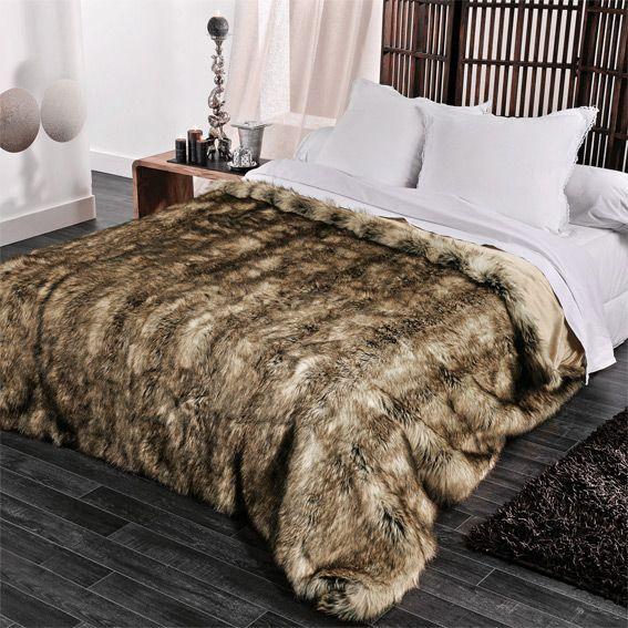Couvre lit 230 x 250 cm imitation fourrure grizzly - Tapis fausse fourrure pas cher ...