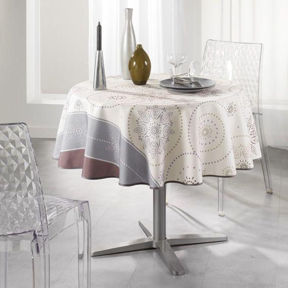 Nappe ronde d180 cm astree beige nappe de table eminza - Nappes tissus anti taches ...