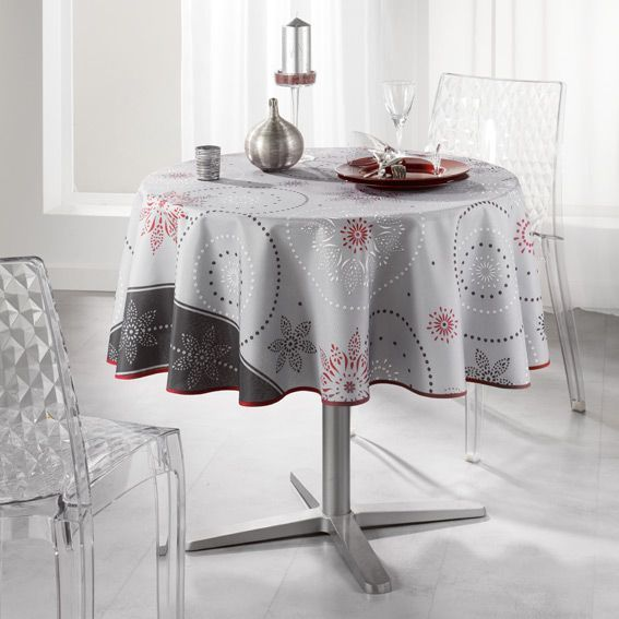 nappe ronde d180 cm astree gris linge de table eminza. Black Bedroom Furniture Sets. Home Design Ideas