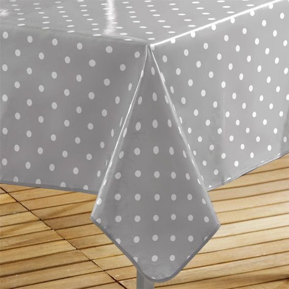 Nappe cir e rectangulaire l240 cm lollypop gris linge for Nappe toile ciree rectangulaire
