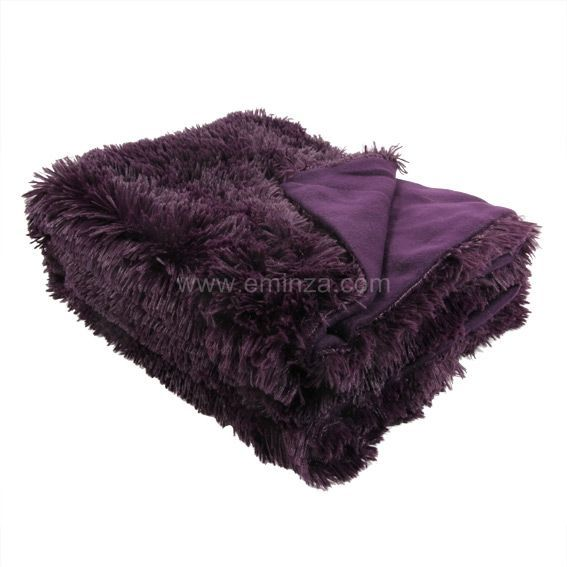 plaid imitation fourrure marmotte aubergine plaid fausse fourrure eminza. Black Bedroom Furniture Sets. Home Design Ideas