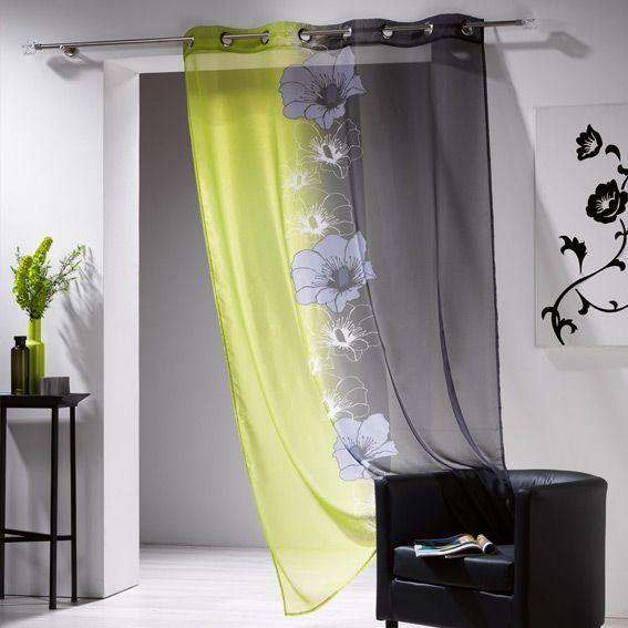voilage 140 x h240 cm maeva anis voilage eminza. Black Bedroom Furniture Sets. Home Design Ideas