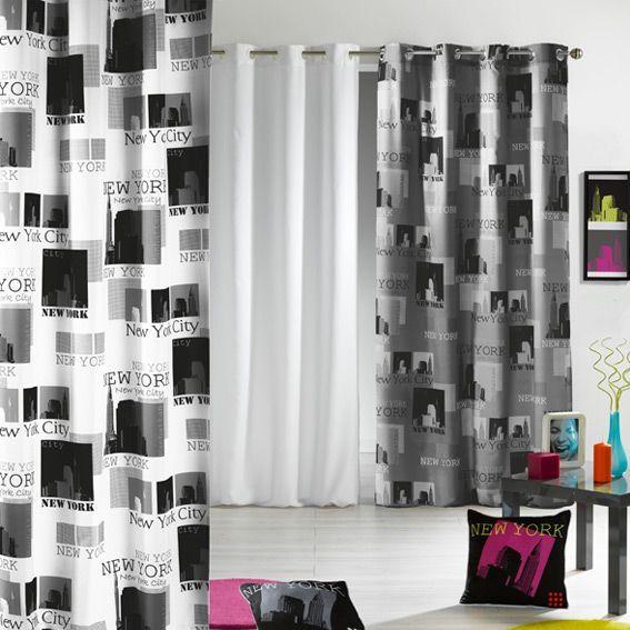 Rideau 140 x h240 cm urban pop blanc rideau tamisant eminza for Rideaux salon noir et blanc