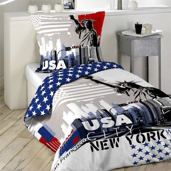 Génial Housse De Couette Usa #9: Housse De Couette Et Une Taie (140 Cm) USA City